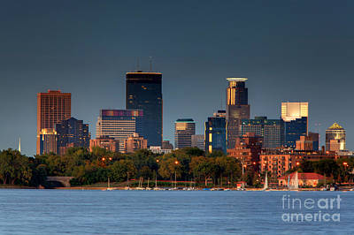 Minneapolis Skyline Photography Lake Calhoun Summer Evening Print by Wayne Moran