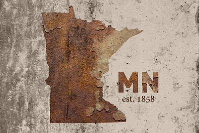Minnesota State Map Industrial Rusted Metal On Cement Wall With Founding Date Series 036 Print by Design Turnpike