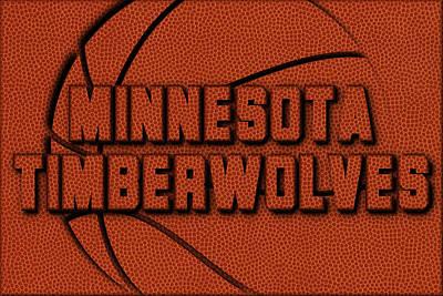 Minnesota Timberwolves Leather Art Print by Joe Hamilton