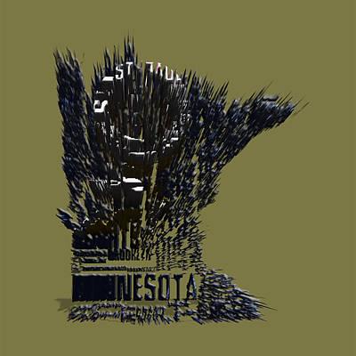 Art Of Hockey Mixed Media - Minnesota Typographic Map 4b by Brian Reaves