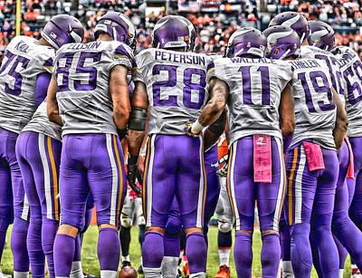 Peterson Mixed Media - Minnesota Vikings Team Art by Joe Hamilton