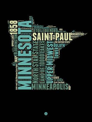 Saint Digital Art - Minnesota Word Cloud Map 1 by Naxart Studio