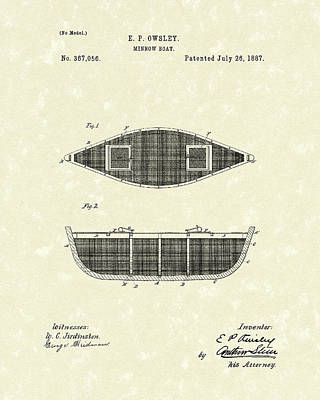 Transportation Drawing - Minnow Boat 1887 Patent Art by Prior Art Design