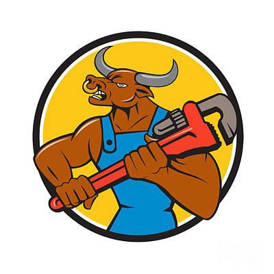Minotaur Digital Art - Minotaur Bull Plumber Wrench Circle Cartoon by Aloysius Patrimonio