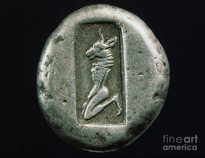 Minotaur Photograph - Minotaur On A Greek Coin by Granger