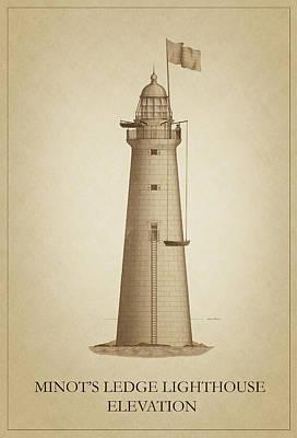 Ledge Drawing - Minot's Ledge Lighthouse by Ambro Fine Art