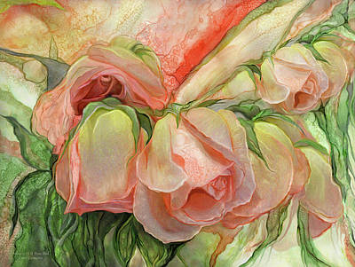 Peace Rose Mixed Media - Miracle Of A Rose Bud - Peach by Carol Cavalaris