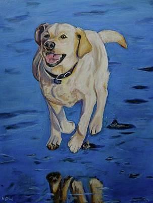 Dog Portrait Painting - Miranda's Morning Run by Kellie Straw