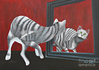 Cat Images Painting - Mirror Image by Jutta Maria Pusl