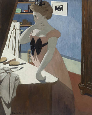 Misia At Her Dressing Table Print by Felix Vallotton