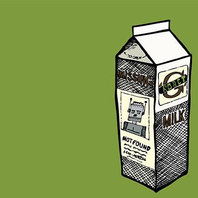 Milk Drawing - Mising Robot by Karl Addison