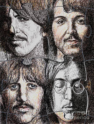 Paul Mccartney Drawing - Missing Pieces by Maria Arango