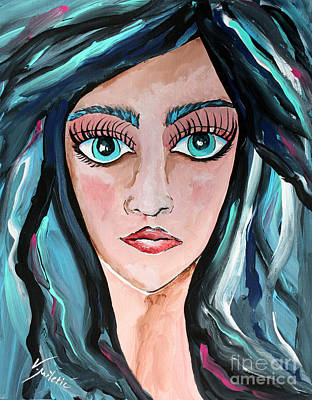Woman Painting - Missing You - Woman Face Art By Valentina Miletic by Valentina Miletic