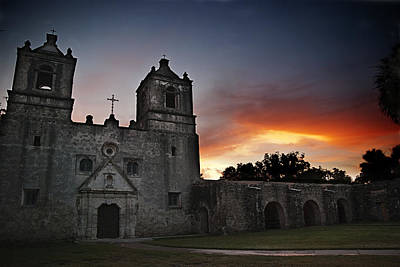 Mission Concepcion At Sunrise Print by Melany Sarafis