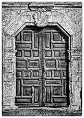 Mission Concepcion Doors - Bw W Border Print by Stephen Stookey