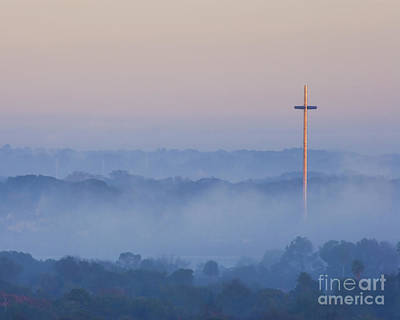 Mission Cross In Fog At Sunrise Print by Jackie Hird
