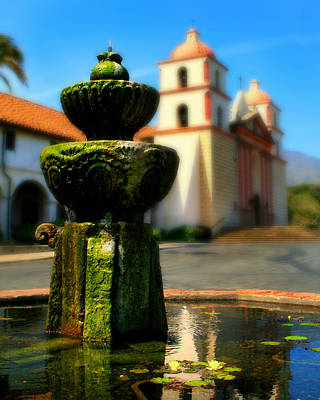Mission Fountain Print by Perry Webster