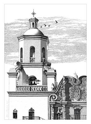 Mission San Xavier Drawing Print by William Beauchamp
