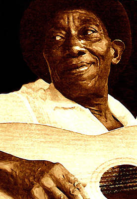Blue Painting - Mississippi John Hurt by Jeff DOttavio