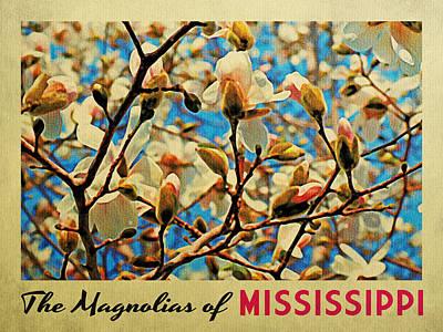 Mississippi Digital Art - Mississippi Magnolias by Flo Karp