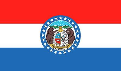 Red White And Blue Painting - Missouri State Flag by American School