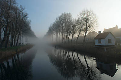 Mist Across The Canal Print by Elisabeth Wehrmann