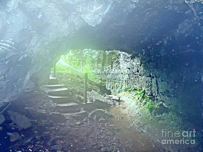 Misty Cave Entrance Print by Karen Wallace