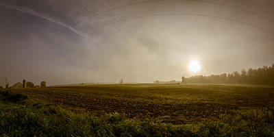 Misty Farm Sunrise Print by Chris Bordeleau