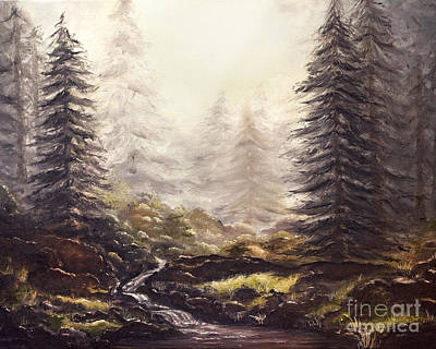 Misty Forest Stream Original by Angelina Cornidez