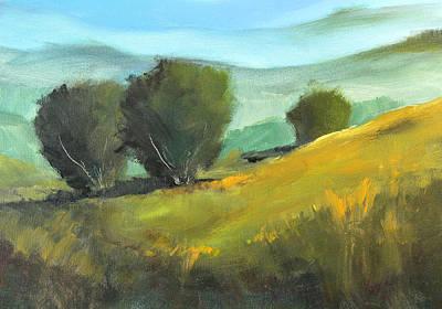 Prairie Sky Painting - Misty Horizon by Nancy Merkle