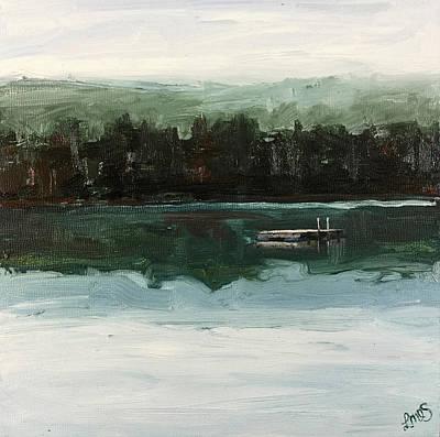 Watson Lake Painting - Misty Morning Lake Raft by Lisa Marie Dole Skinner