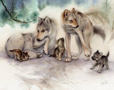 Wolf Painting - Misty Pines Wolf Family by Tracy Herrmann