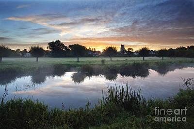 Misty Sunrise At Sudbury Water Meadows Print by Mark Sunderland