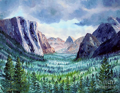 El Capitan Painting - Misty Yosemite Valley by Laura Iverson