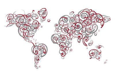 Pride Digital Art - Mit University Colors Swirl Map Of The World Atlas by Jurq Studio