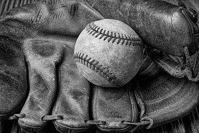 Mitt And Ball Black And White Print by Garry Gay