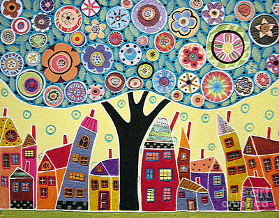 Mixed Media Collage Tree And Houses Print by Karla Gerard