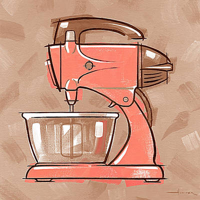 Mixer Coral And Tan Print by Larry Hunter