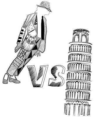 Mj Vs Pisa Print by Serkes Panda
