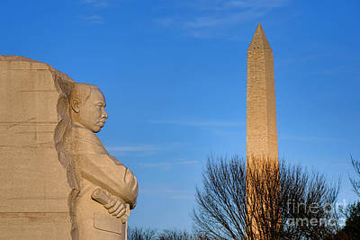 Mlk And Washington Monuments Print by Olivier Le Queinec