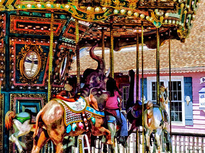 Boy Photograph - Merry Go Round With Elephants by Susan Savad