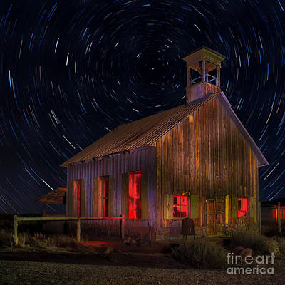 Old School House Digital Art - Moab Schoolhouse Star Trails by Jerry Fornarotto