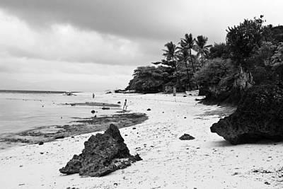 Moalboal Cebu White Sand Beach In Black And White Print by James BO  Insogna