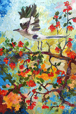 Mockingbird Painting - Impressionism Mockingbird In Holly Tree Palette Knife Painting by Ginette Callaway
