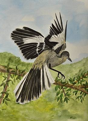 Mockingbird Painting - Mockingbird Landing by Linda Brody