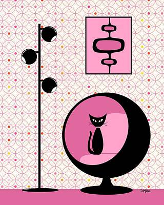 Mod Wallpaper In Fuchsia Print by Donna Mibus