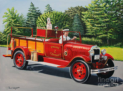Dalmation Painting - Model A Fire Engine by Paul Walsh
