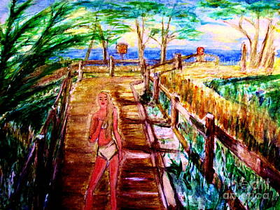 Model At Monterey Boardwalk Print by Stanley Morganstein