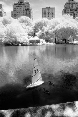Infrared Photograph - Model Boat Lake Central Park by Dave Beckerman