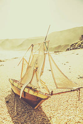 Model Sailing Boat On Nautical Shore Print by Jorgo Photography - Wall Art Gallery